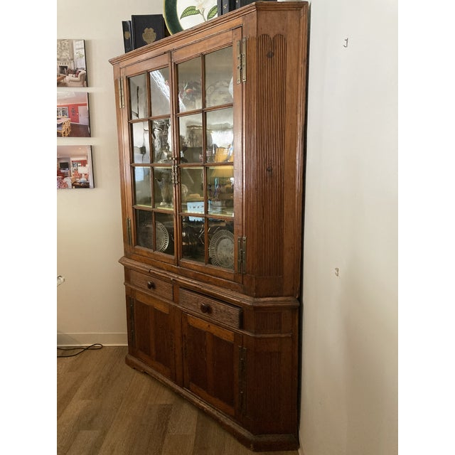 Farmhouse Pine Corner Cabinet With Wavy Original Glass For Sale - Image 3 of 8