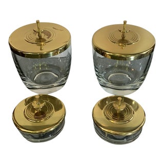 1950s Tommi Parzinger Dorlyn Silversmiths Brass and Glass Cannisters - Set of 4 For Sale