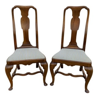Vintage Pair of Queen Anne Style English Side Chairs W/Stretcher Base For Sale