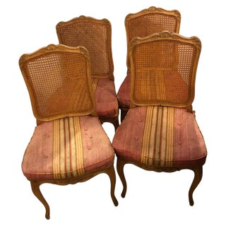 Set of Four Country French Custom Quality Side Chairs in New Fabric For Sale