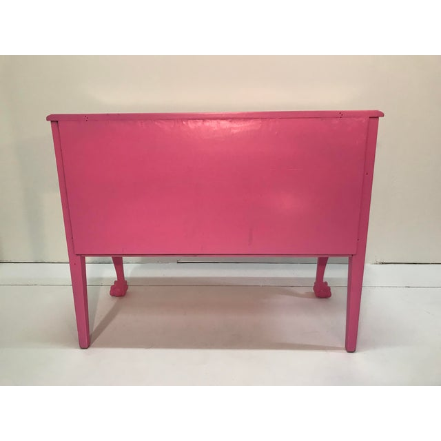 Metal Vintage Pink Painted 1940s Chippendale Revival Claw and Ball Foot Cabriole Legs Server Console Mahogany For Sale - Image 7 of 11