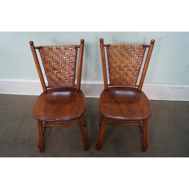 Old Hickory signed vintage set of 4 woven splint back dining chairs. Age/Country of Origin: Approx. 75 years, America...