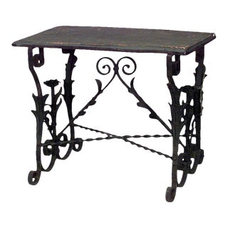 Italian Renaissance Wrought Iron Floral End Table For Sale