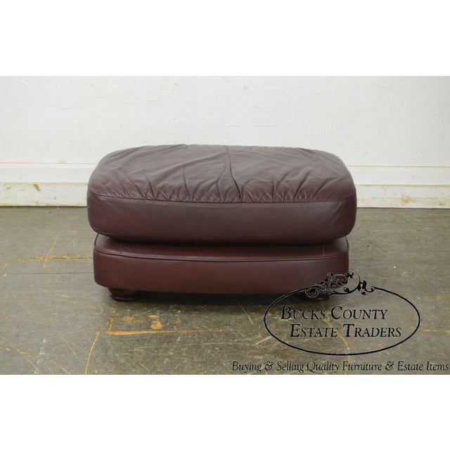 Classic Leather Bun Foot Russet Brown Leather Ottoman For Sale - Image 9 of 13