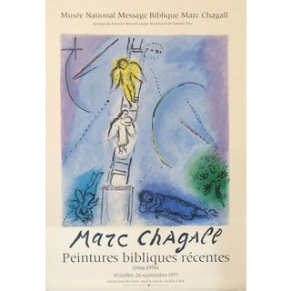 1977 Original French Exhibition Poster, Marc Chagall - Recent Biblical Paintings For Sale
