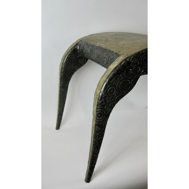 R & Y Agousti French Style Ebony & Shagreen Bench - Image 8 of 10