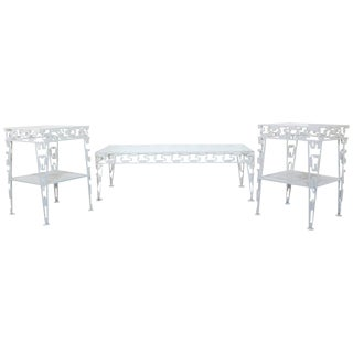Mid-Century Modern White Set of Patio Tables Coffee Pair Side For Sale