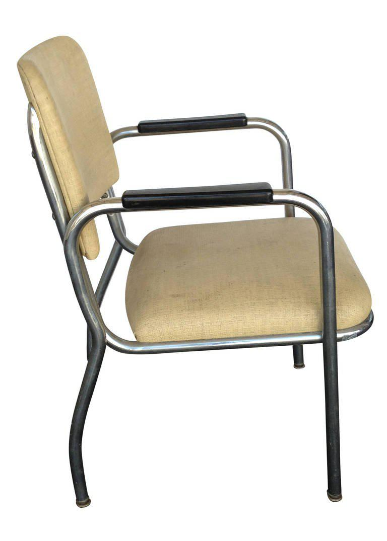 Mid Century Modern Chrome Round Tubular Armchair By Royal Metal  A Pair For  Sale