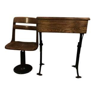 1900s Early American Chandler the Boston Adjustable Oak Wood and Cast Iron School Desk and Chair - 2 Pieces For Sale
