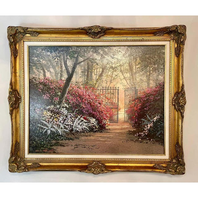 Juan Archuleta gates and garden painting. Well done in a fine custom gilt frame from a fine New Jersey private....