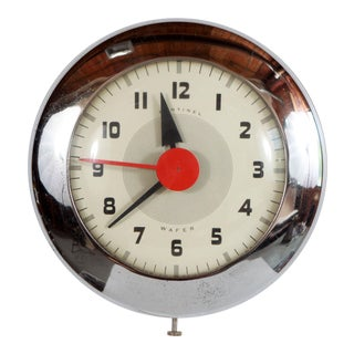 Mid Cecntury Modern Henry Dreyfuss Chrome Sentinel Wafer Wall Clock For Sale