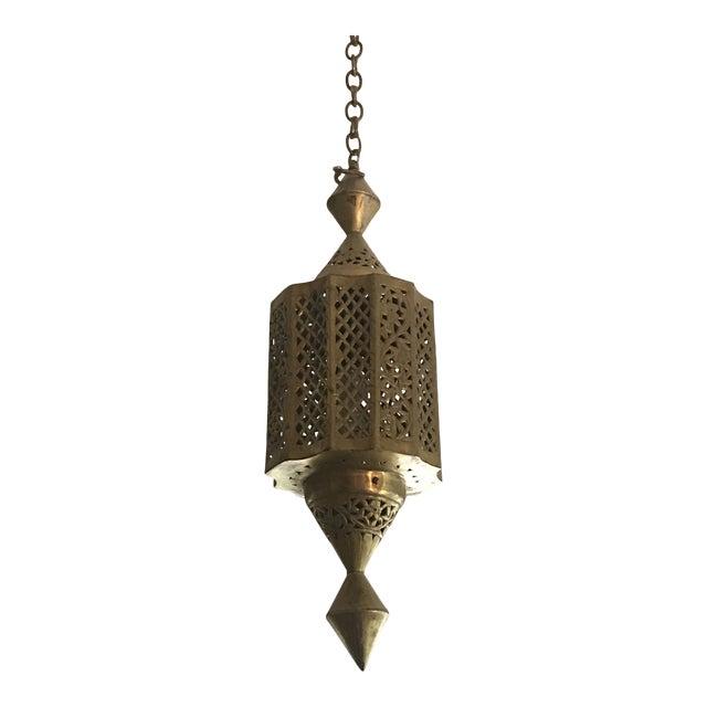 Moroccan Pierced Brass Lantern For Sale