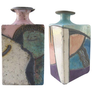 1980's Post Modern Pottery Vases - a Pair