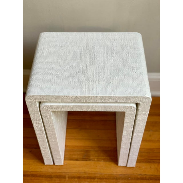 Grasscloth Raffia Nesting Tables - 2 Pieces For Sale - Image 9 of 12