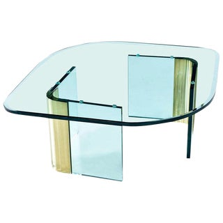 Pace Collection Waterfall Scalloped Brass and Glass Coffee Table by Leon Rosen For Sale