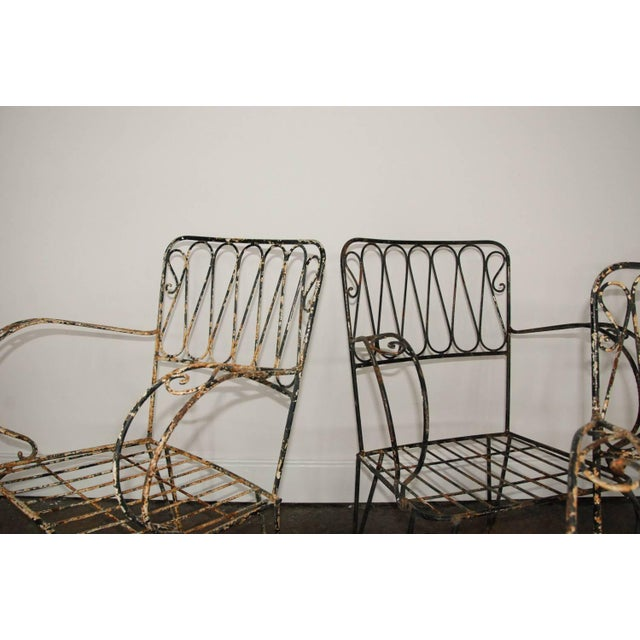 French French Forged Armchairs Style of Raymond Subes, 1940 - Set of 4 For Sale - Image 3 of 5
