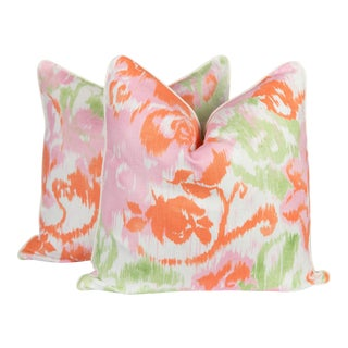 Waterford Floral Linen Pillows - A Pair For Sale