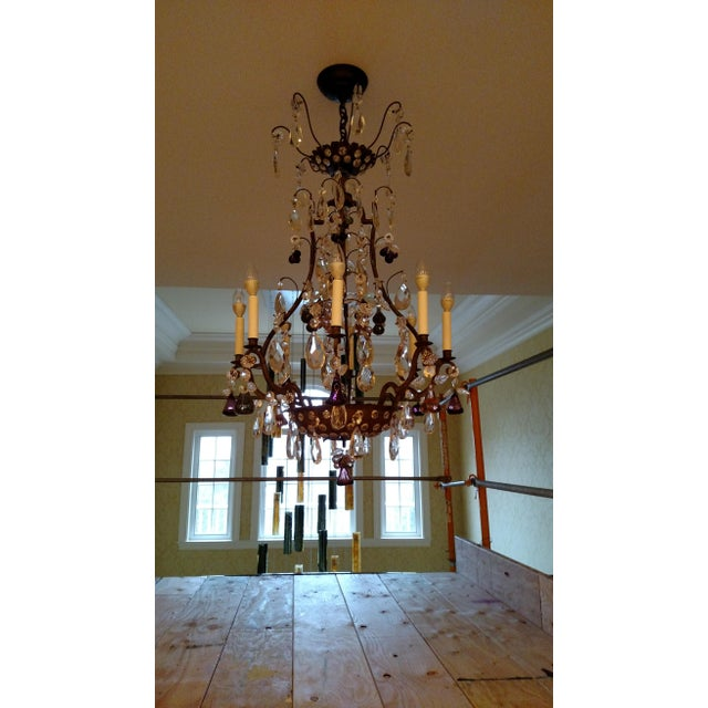 French 1840s Antique Iron Baguès French Cut Glass Dangles Chandelier For Sale - Image 3 of 13