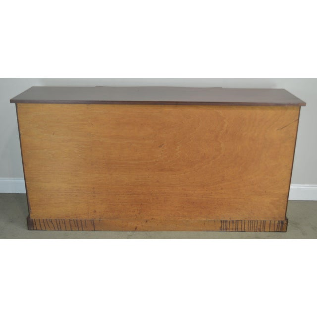 1940s Federal Style 1940's Custom Flame Mahogany Inlaid Buffet Sideboard For Sale - Image 5 of 13