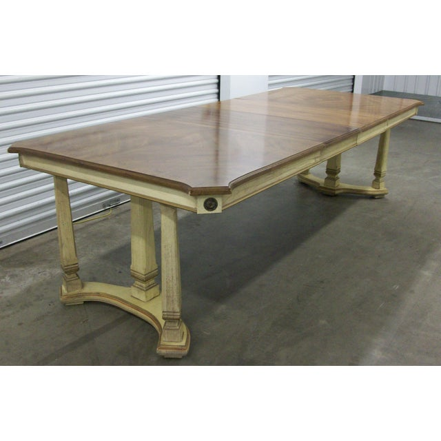 "1970s French Provincial Stanley Furniture Rectangular Trestle Dining Table 102"" For Sale - Image 10 of 10"