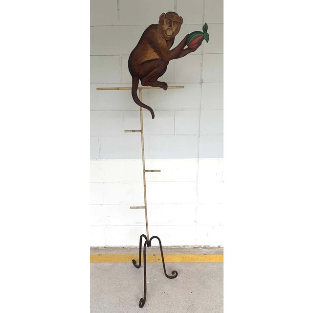 Mid 20th Century Tole Monkey With Pomegranate Towel Rack For Sale - Image 5 of 11
