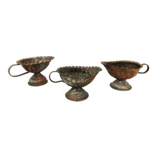 Antique Hammered Copper Vessels - Set of 3