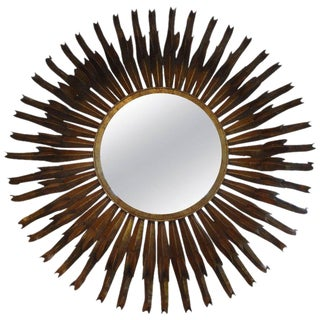 1960s Vintage French Gilt Metal Sunburst Mirror For Sale