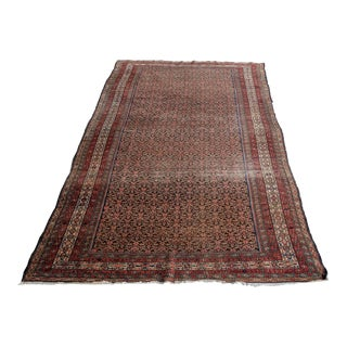 Antique Distressed Kurdish Gallery Rug All Over Pattern 7x16 For Sale