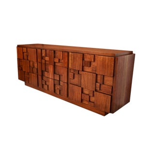 Mid Century Paul Evans Style Lane Brutalist Nine Drawer Dresser For Sale