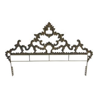 1960s Vintage Polychromed Rococo Style King Size Headboard For Sale