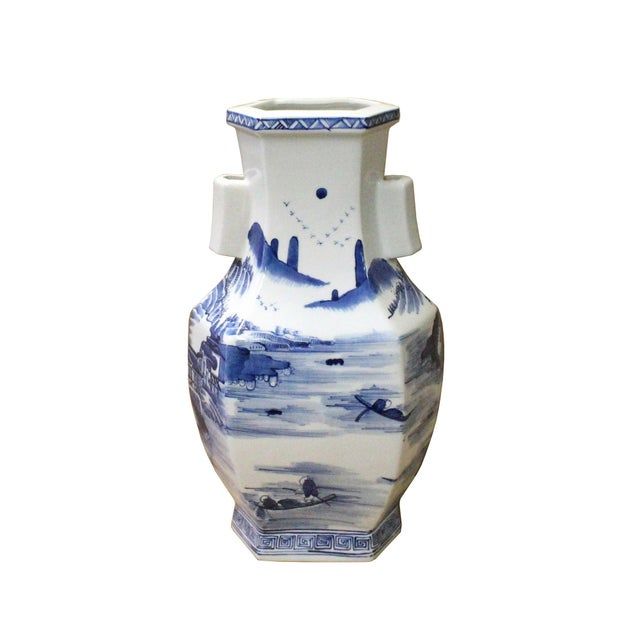 Arts & Crafts Chinese Blue & White Porcelain Oriental Mountain Scenery Graphic Vase For Sale - Image 3 of 7
