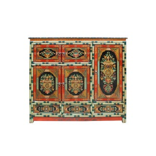 Chinese Tibetan Jewel Flower Graphic Tall Credenza StorageCabinet For Sale