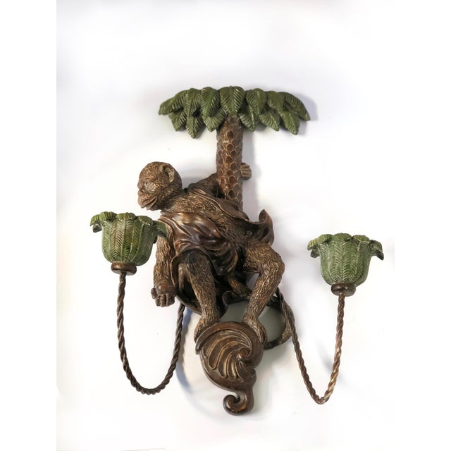 Single Monkey Figure Wall Candle Sconce For Sale - Image 4 of 10