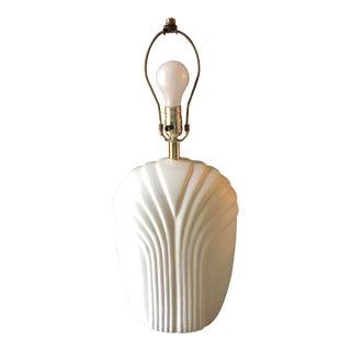 1980's Art Deco Style Alabaster Ceramic Table Lamp