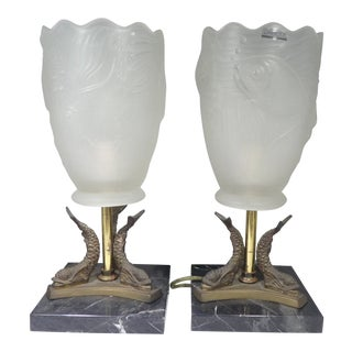 Vintage Pair of Lalique France Fish Bowl Shade Lamps For Sale