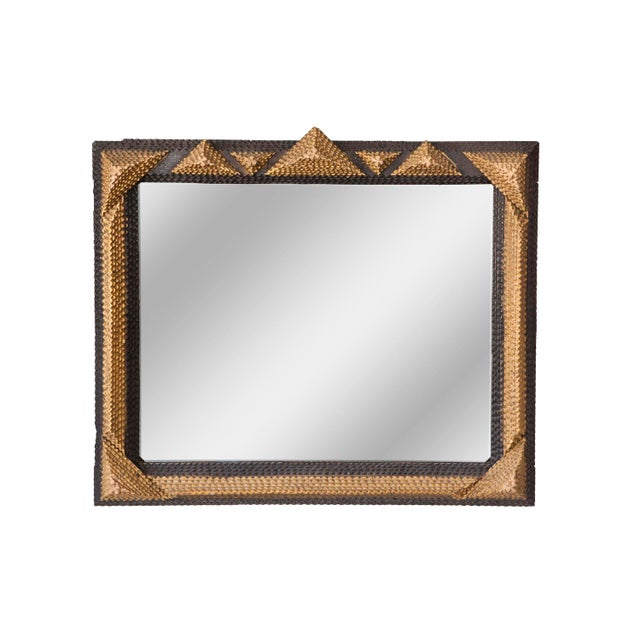 Gold and Black Tramp Art Mirrors - A Pair For Sale - Image 4 of 6