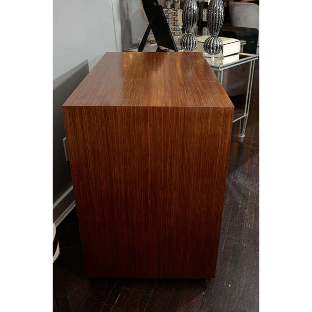 Custom Parchment End Table with Walnut Wood Frame For Sale In New York - Image 6 of 8