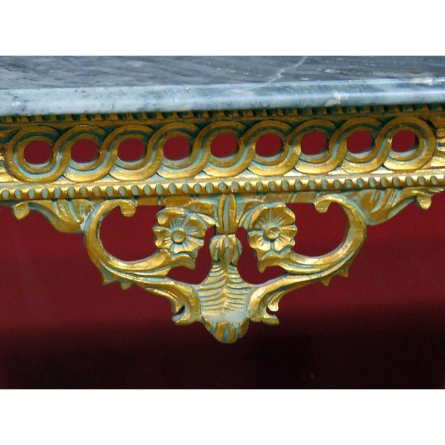 Mid-century Regency style distressed painted marble top demilune console table.