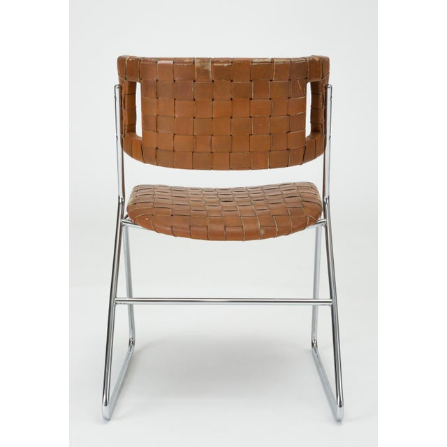 Silver Set of Four Dining Chairs With Woven Leather Upholstery by Chromcraft For Sale - Image 8 of 13