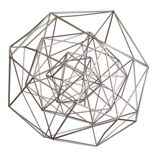 1980s Hand Forged Steel Hexagonal Sculpture For Sale