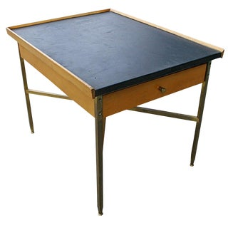 1950s Mid-Century Modern Leather Top Wood and Brass Occasional Table