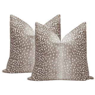 Mocha Antelope Linen Print Pillows - a Pair For Sale