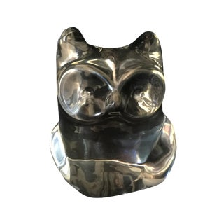 Orrefors Clear Crystal Owl Paperweight For Sale