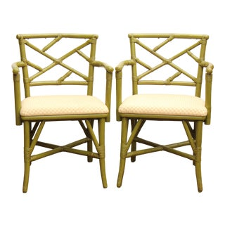 Chippendale Style Faux Bamboo Armchairs - A Pair For Sale