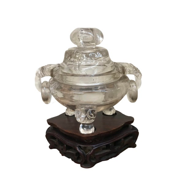 Chinese Early 20th Century Chinese Carved Rock Crystal Incense Burner For Sale - Image 3 of 3