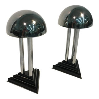 1930s Donald Deskey Spectacular Art Deco Modernist Chrome And Bakelite Lamps - a Pair For Sale