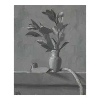 Grisaille Plant With Vase Still Life Painting