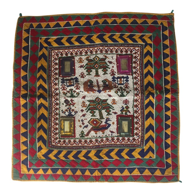 Vintage Beaded Indian Peacock Tribal Wall Hanging For Sale