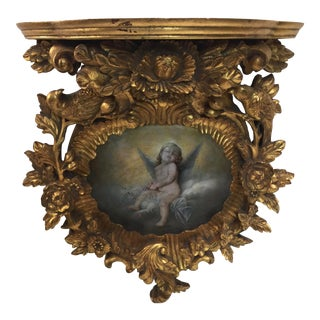 Louis XV Style Wall Bracket Carved Gilt Hand Painted Cherub For Sale
