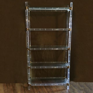 Charles Hollis Jones Acrylic & Brass Faux Bamboo Etagere Preview